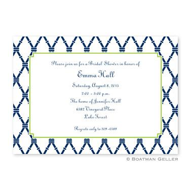 Bamboo Navy & Green Flat Card Invitation