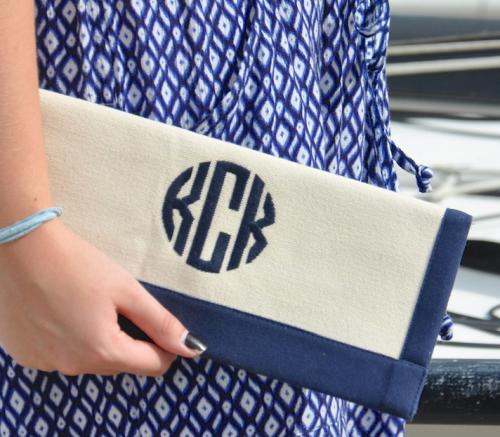 Monogrammed Border Trimmed Clutch Several Colors  Apparel & Accessories > Handbags > Clutches & Special Occasion Bags