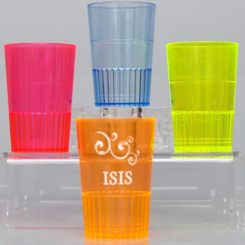 1.5 oz Personalized Neon Hard Plastic Shot Glasses  NULL