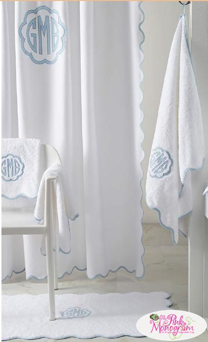 Matouk Monogrammed Le Scallop Shower Curtain  Home & Garden > Bathroom Accessories > Shower Curtains