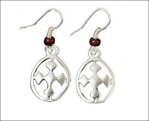 brown beaded small silver dangle earrings