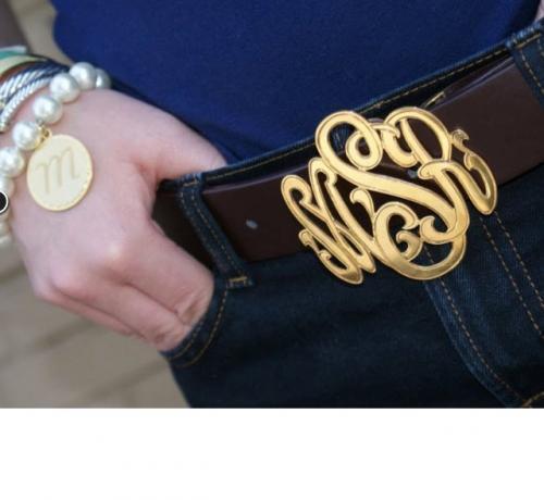 The PInk Monogram Signature Custom Belt Buckle In Sterl