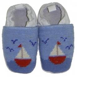 By Paige Baby Needlepoint Sailboat Booties  Apparel & Accessories > Shoes > Baby & Toddler Shoes