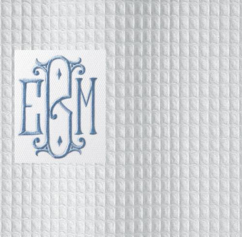 monogrammed shower curtain belgian waffle fabric