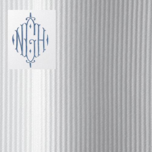 filename monogrammed shower curtain in horizon fabric with 12 inch monogram jpg