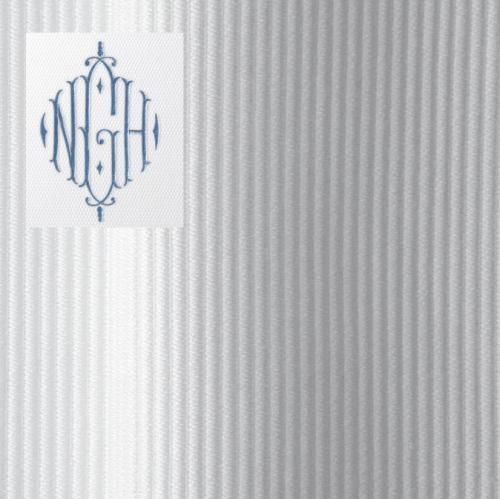 monogrammed shower curtain in horizon fabric with 12 in