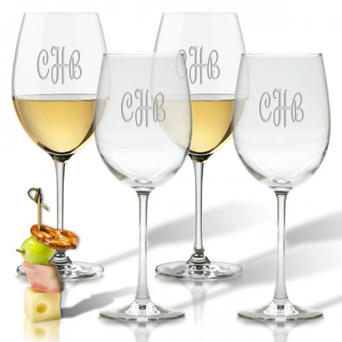 Personalized Glass Wine Glasses Set of 4   Home & Garden > Kitchen & Dining > Tableware > Drinkware > Stemware