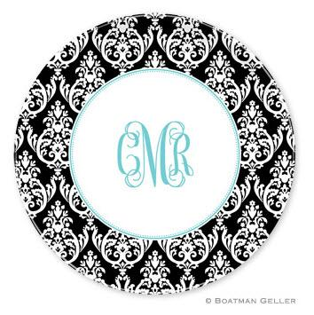 Boatman Geller Personalized Melamine Plate with Madison Damask Pattern  Home & Garden > Kitchen & Dining > Tableware > Dinnerware > Plates