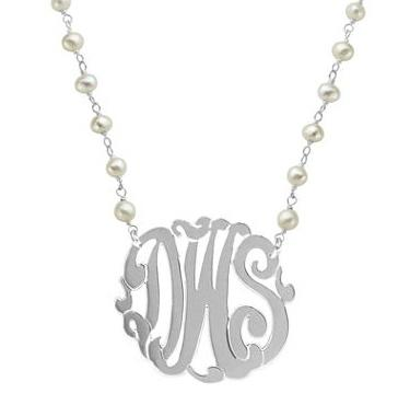 Monogram with Pearls Necklace  Apparel & Accessories > Jewelry > Necklaces