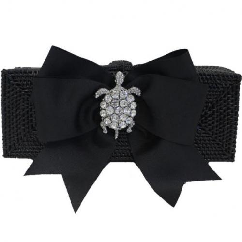 Rectangle Clutch Paris Black Bow  Apparel & Accessories > Handbags > Clutches & Special Occasion Bags