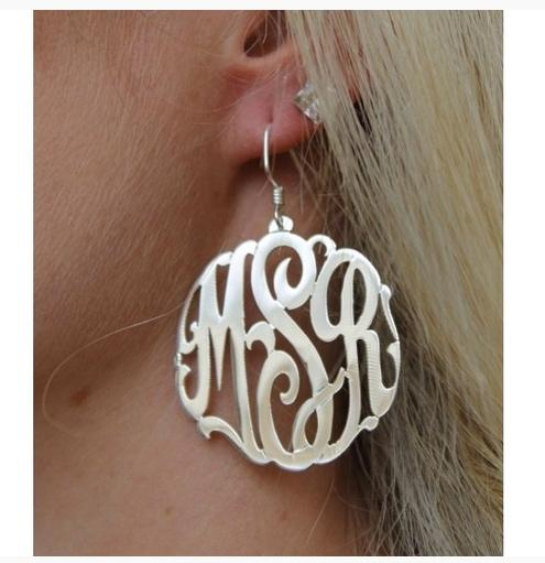 Monogrammed Script Earrings on French Wires  Apparel & Accessories > Jewelry > Earrings