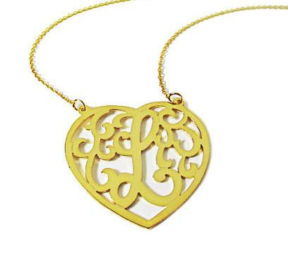 monogrammed cut out heart necklace