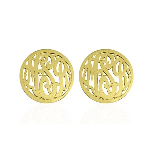Monogrammed Script Post Earrings with Border  Apparel & Accessories > Jewelry > Earrings