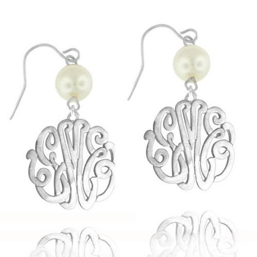Monogrammed Script Earring with Pearl Drop  Apparel & Accessories > Jewelry > Earrings