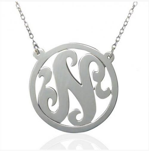 "Single Initial Necklace With Border 1""   Apparel & Accessories > Jewelry > Necklaces"