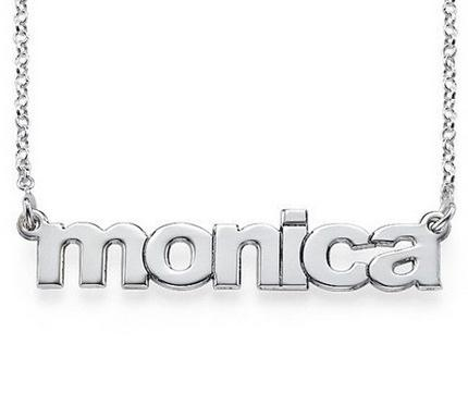 Nameplate Necklace Block Font   Apparel & Accessories > Jewelry > Necklaces