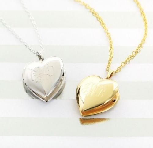 Monogrammed Silver or Gold Heart Locket  Apparel & Accessories > Jewelry > Necklaces