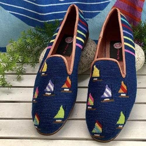 By Paige Ladies Rainbow Fleet of Sails on Navy Needlepoint Loafers   Apparel & Accessories > Shoes > Loafers