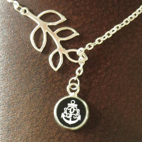 Engraved Monogram Anchor Acrylic Color Branch Necklace  Apparel & Accessories > Jewelry > Necklaces