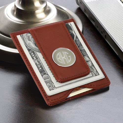 monogrammed leather magnetic money clip with card holde