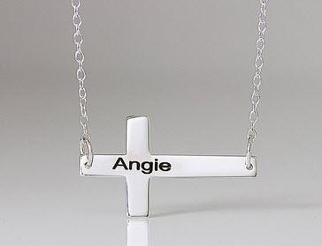 Engraved Sideways Cross Necklace   Apparel & Accessories > Jewelry > Necklaces
