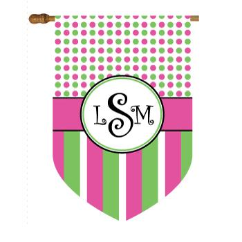 Monogrammed Pink, Green and Black Dots and Stripes House Flag Tiny Dots in Pastel Polka Dot and Stripe Home & Garden > Decor > Flags & Windsocks