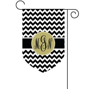 Chevron Print Garden Flag with Circle Monogram  Home & Garden > Decor > Flags & Windsocks