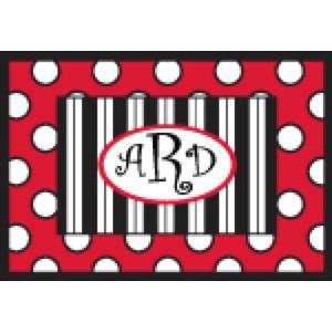 Personalized Red Black and White stripes and dots Door Mat Personalized Big Dots and Stripes Door Mat Home & Garden > Decor > Door Mats