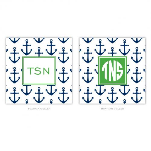 Coasters in Anchors Navy Pattern  Home & Garden > Kitchen & Dining > Barware > Coasters