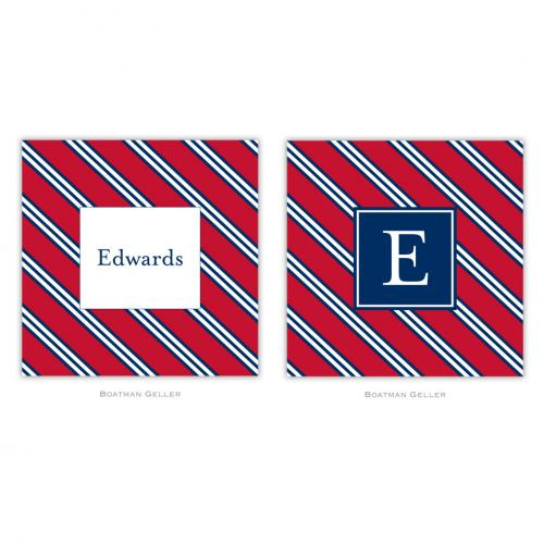 Personalized Coasters Repp Tie Red & Navy   Home & Garden > Kitchen & Dining > Barware > Coasters