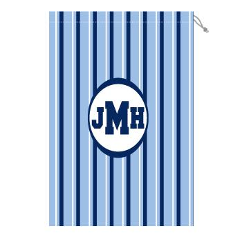 Monogram Laundry Bag with blue and white stripes  Laundry Bag Blue and White Stripe Home & Garden > Household Supplies > Laundry Supplies > Washing Bags & Baskets