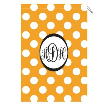 Monogrammed Laundry Bag with Tennessee orange and white polka dots Laundry Bag Orange and White Polka Dot Home & Garden > Household Supplies > Laundry Supplies > Washing Bags & Baskets