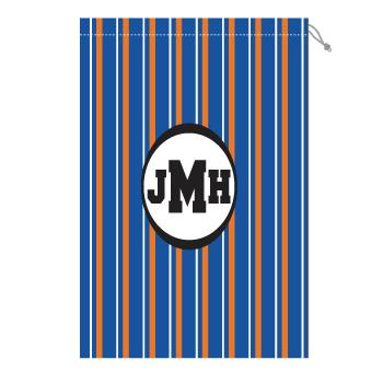 Monogram Laundry Bag with Florida Orange and Blue Stripes Laundry Bag Orange and Blue Stripe Home & Garden > Household Supplies > Laundry Supplies > Washing Bags & Baskets