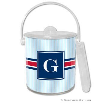 Boatman Geller Personalized Ice Bucket in Seersucker Band Red & Navy Pattern  Home & Garden > Kitchen & Dining > Barware > Ice Buckets