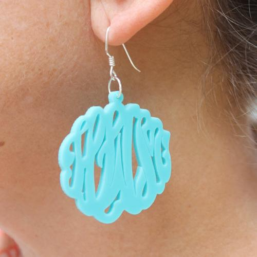 Monogrammed Earrings Acrylic Script on a French Wire  Apparel & Accessories > Jewelry > Earrings