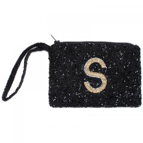Hand Beaded Initial Monogram Wristlet  Apparel & Accessories > Handbags > Wristlets