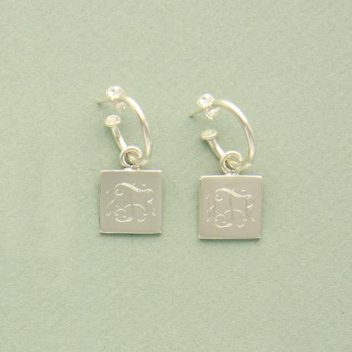 Monogrammed Sterling Silver Square Dangle Earrings Square Earring on hoop Apparel & Accessories > Jewelry > Earrings