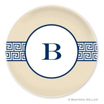 Boatman Geller Personalized Melamine Plate with Greek Key Band Navy Pattern  Home & Garden > Kitchen & Dining > Tableware > Dinnerware > Plates