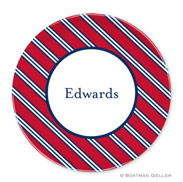 Boatman Geller Personalized Melamine Plate with Repp Tie Red & Navy Pattern  Home & Garden > Kitchen & Dining > Tableware > Dinnerware > Plates