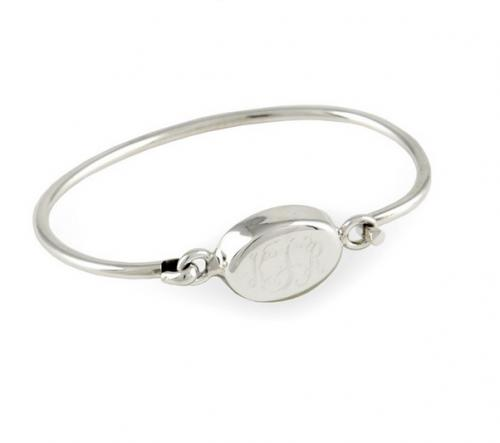 Monogrammed Sterling silver oval bracelet for girls or tweens  Apparel & Accessories > Jewelry > Bracelets