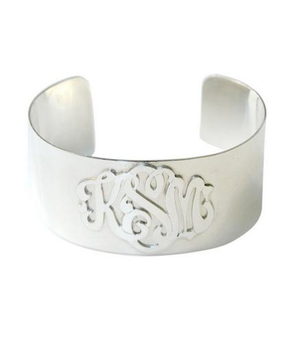 Raised Monogrammed Script Sterling Silver Cuff  Apparel & Accessories > Jewelry > Necklaces