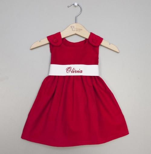 Monogrammed Red Corduroy Sash Dress White Sash  Apparel & Accessories > Clothing > Baby & Toddler Clothing > Baby & Toddler Dresses