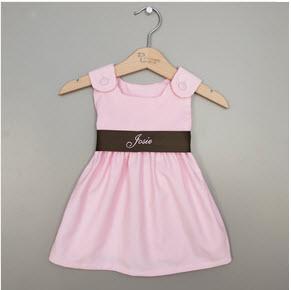 Monogrammed Corduroy Sash Dress in Pink and Brown  Apparel & Accessories > Clothing > Baby & Toddler Clothing > Baby & Toddler Dresses