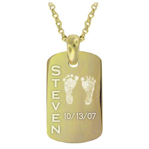Personalized Baby Hand or Foot Print Tag Pendant   Apparel & Accessories > Jewelry > Necklaces