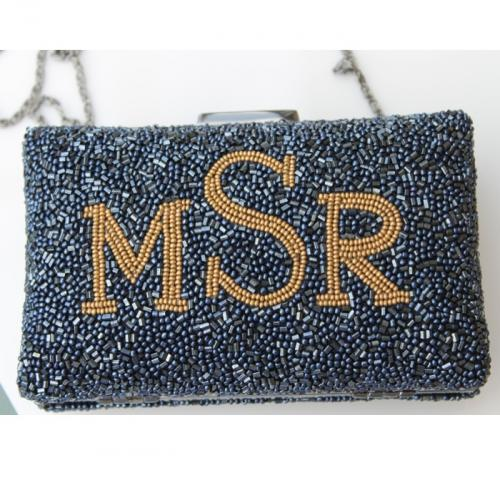 Monogrammed Beaded Boxed Evening Bag  Apparel & Accessories > Handbags > Shoulder Bags