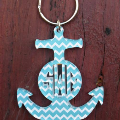 Monogram Keychain Layered Anchor Chevron   Luggage & Bags > Luggage Accessories > Keychains