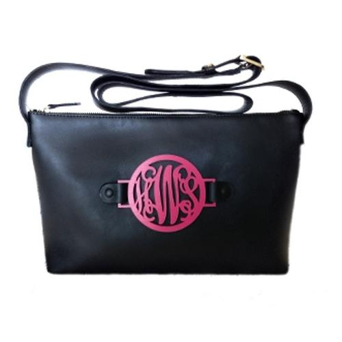 Black Convertible Larger Crossbody Bag with Interchangeable Monogram  Apparel & Accessories > Handbags > Cross-Body Handbags
