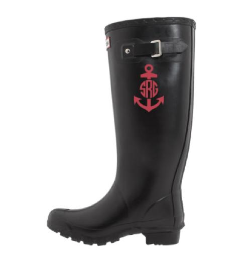 Monogrammed Anchor Rain Boot Decals   Apparel & Accessories > Shoes > Boots > Rain Boots