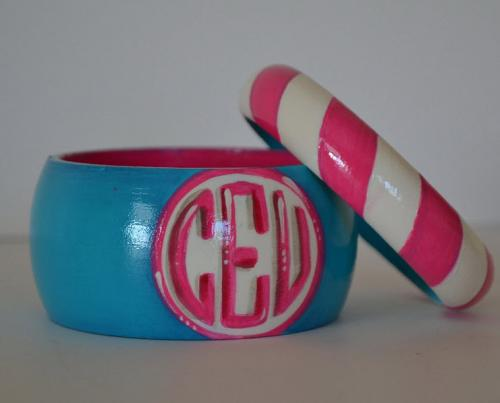 Monogrammed Diagonal Stripe Bangle Bracelet Set   Apparel & Accessories > Jewelry > Bracelets