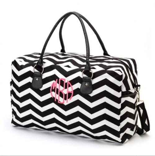 Monogrammed Black Chevron Weekender Travel Bag  Luggage & Bags > Suitcases > Carry-On Luggage